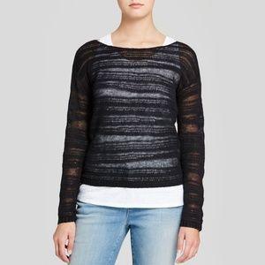 Eileen Fisher Bateau Organic Cotton Stripe Top Blk